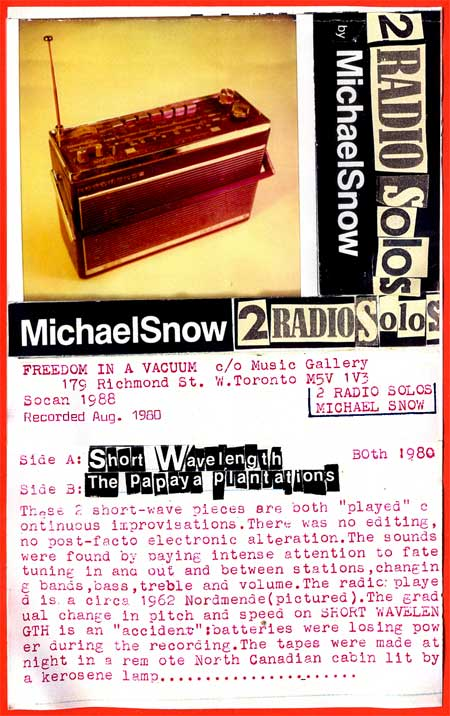 Michael Snow: Two Radio Solos